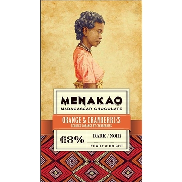 Chocolate Menakao Black 63% - Orange Bark And Cranberries