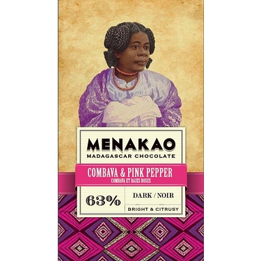 Chocolate Menakao Black 63% -Combava And Pink Pepper