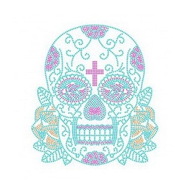 Patch crâne mexicain strass