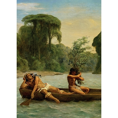 Two Indians on a dugout canoe poster