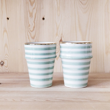 Cup Beldi celadon stripes